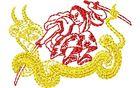 Budoten Stickmotiv Samurai & Drache / Samurai & Dragon DAC-WC0194