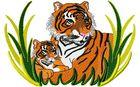 Budoten Stickmotiv Tiger mit Nachwuchs / Tiger & Cub DAC-WL1206