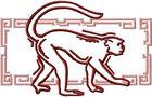 Budoten Stickmotiv Jahr des Affen / Year of the Monkey EMB-NW942, chinesische / japanische Tierkreiszeichen