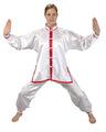 Ju-Sports Tai Chi Anzug weiß/rot, Satin