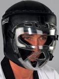 DanRho Kopfschutz schwarz mit Maske - Echt Leder