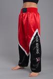 Budos Finest Kickbox-Satinhose schwarz-weiß-rot