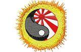 Stickmotiv Yin Yang mit japanischer Flagge / Martial Arts - EMB-SP4192