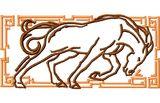 Budoten  Stickmotiv Jahr des Pferdes / Year of the Horse EMB-NW940, chinesische / japanische Tierkreiszeichen