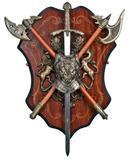 Jean Fuentes  Wandschild mit Robin Hood Schwert und 2 Äxten