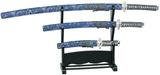 Budoland Samuraiset Taira Daisho blau-gold - 3er Set inklusive Ständer