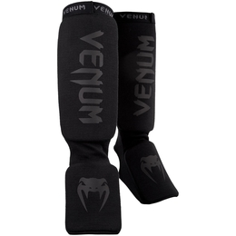 Venum Kontact Shinguards-Black/Black