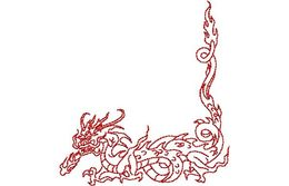 Stickmotiv Asiatischer Drache / Asian Dragon Corner - EMB-NY335