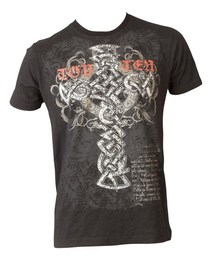 T-Shirt TopTen MMA Tribal Cross, Schwarz