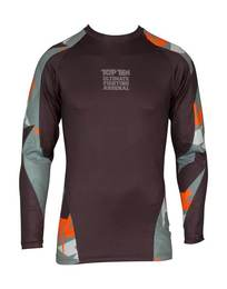 Rash Guard TopTen Jungle, Langarm, Schwarz-Orange