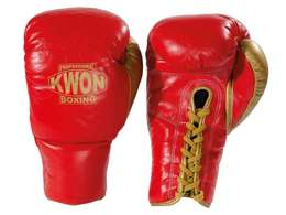 Professional Boxing Handschuhe Leder mit Schnürung, Rot