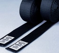 Budo-Gürtel schwarz aus Kunstseide