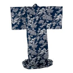 Japanischer Kimono Walddrache navy