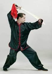 Kung Fu Anzug schwarz-rot