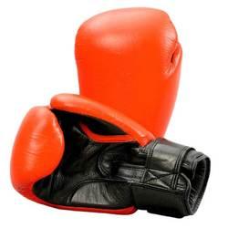 Echtleder-Boxhandschuh rot