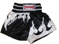 Thaiboxing Shorts schwarz-weiße Flamme
