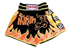 Thaiboxing Shorts schwarz-gelb-rote Flamme