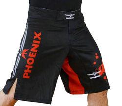 MMA Shorts schwarz-rot-grau Stretch