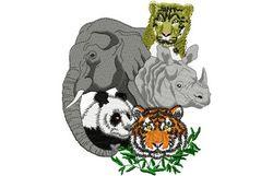 Stickmotiv Tiger, Panda, Nashorn, Elefant, Leopard / Asian Animals - EMB-WL1165