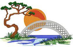 Stickmotiv Landschaft Asiatische Brücke / Asian Bridge Scene - EMB-16143
