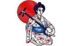 Stickmotiv Geisha mit Shamisen / Playing the Shamisen - EMB-FA419