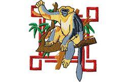 Stickmotiv Affe mit Stupsnase / Snub Nosed Monkey - EMB-WM998