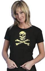 Baumwollshirt  Damen schwarz mit Totenkopf