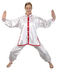 Tai Chi Anzug weiß/rot, Satin