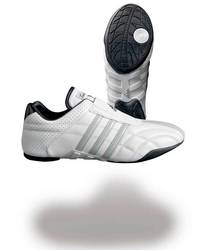 Taekwondo Schuh AdiLux, Weiß mit grauen Streifen