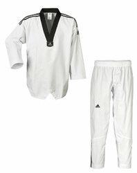 Taekwondo Anzug Adi Club 3 Stripes schwarzes Revers