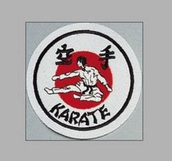 Stickabzeichen Karate weiß-rot